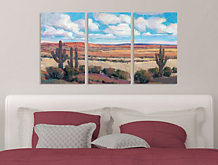 Painterly Desert Heat Scene With Cactus And Clouds Triptych 3pc 16x24 Canvas Wall Art, Multi, rollover