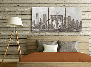Neutral Gray Tan Panoramic View Of New York City Triptych 3pc 16x24 Canvas Wall Art, Multi, rollover