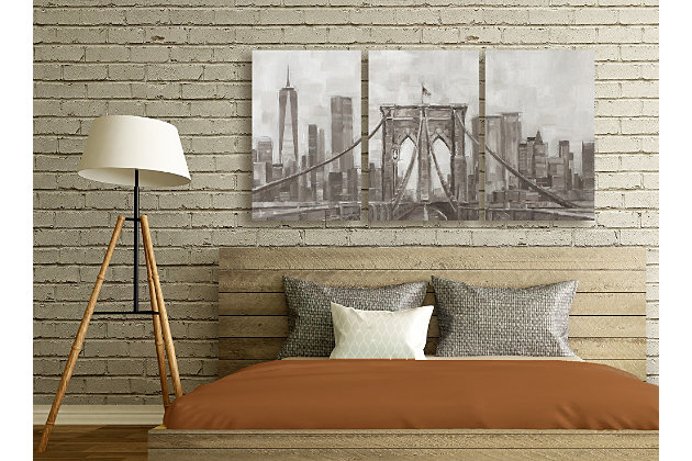 Neutral Gray Tan Panoramic View Of New York City Triptych 3pc 16x24 Canvas Wall Art, Multi, large
