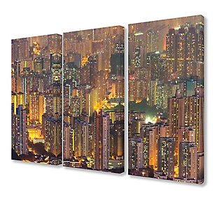 Aerial View of Hong Kong at Dusk Triptych 3pc 16x24 Canvas Wall Art, Multi, rollover