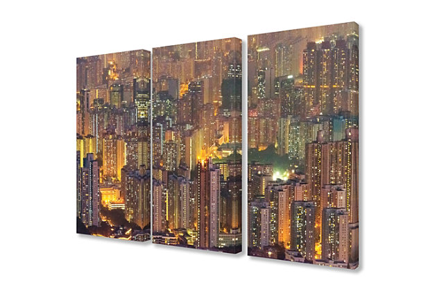Aerial View of Hong Kong at Dusk Triptych 3pc 16x24 Canvas Wall Art, Multi, large