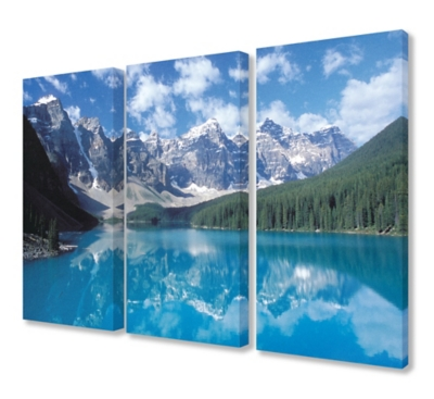 Canadian Lake And Mountain Landscape Triptych 3pc 16x24 Canvas Wall Art, Multi, large