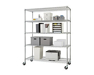TRINITY 5-Tier 60x24x72 Wire Shelving NSF with Wheels, , large