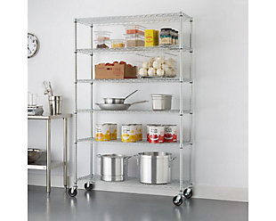 TRINITY 6-Tier 48x18x72 Wire Shelving with Backstands, , rollover