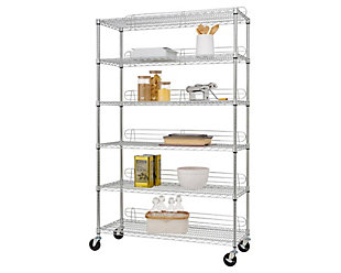 TRINITY 6-Tier 48x18x72 Wire Shelving with Backstands, , large