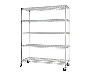 TRINITY Basics 5-Tier 60x24x72 Wire Shelving with Wheels, , rollover