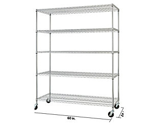 TRINITY Basics 5-Tier 60x24x72 Wire Shelving with Wheels, , large