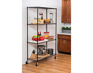 TRINITY 4-Tier 48x18x72 Wire Shelving with Liners & Wheels, , rollover