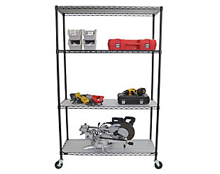 TRINITY 4-Tier 48x18x72 Wire Shelving with Liners & Wheels, , large