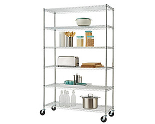 TRINITY Basics 6-Tier 48x18x72 Wire Shelving NSF with Wheels, , rollover