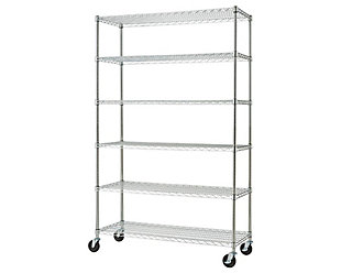 TRINITY Basics 6-Tier 48x18x72 Wire Shelving NSF with Wheels, , large