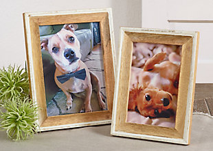 Distressed Wood Photo Frame with Two Tone Design, , rollover