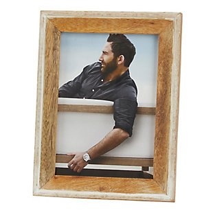 Distressed Wood Photo Frame with Two Tone Design, , large