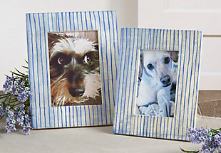 Bone Photo Frame with Blue Line Design, , rollover