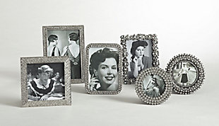 Round Jeweled Photo Frame with Antique Style, , rollover