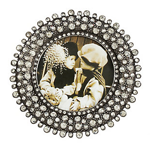 Round Jeweled Photo Frame with Antique Style, , large