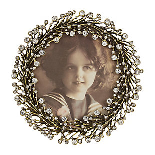 Wreath Design Jeweled Photo Frame, , large