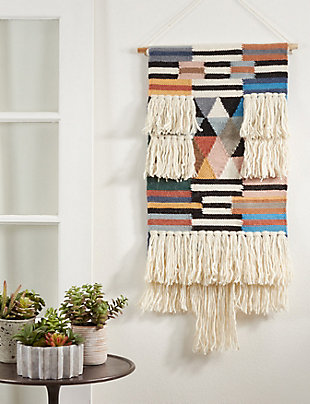 "Woven Wall Hanging 18""x40"" with Fringe Design, , rollover"