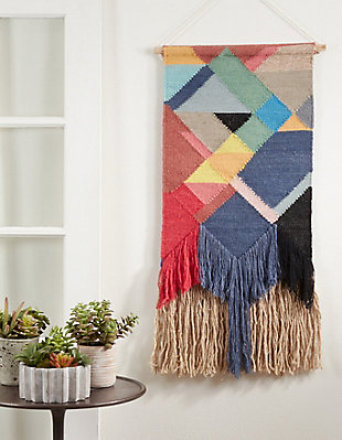 "Woven Wall Hanging 18""x40"" with Multi-Colored Design, , rollover"