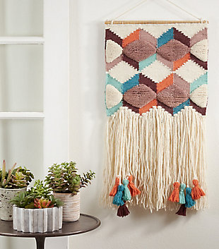 "Woven Wall Hanging 16""x34"" with Tassel and Fringe Design, , rollover"