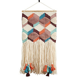 "Woven Wall Hanging 16""x34"" with Tassel and Fringe Design, , large"