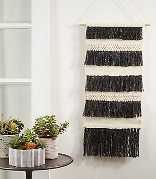 "Woven Wall Hanging 14""x34"" with Fringe Layered Design, , rollover"