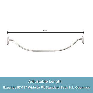 """Kenney Twist & Fit™ No Tools Curved Tension Shower Curtain Rod, 57-72"""", , large"""