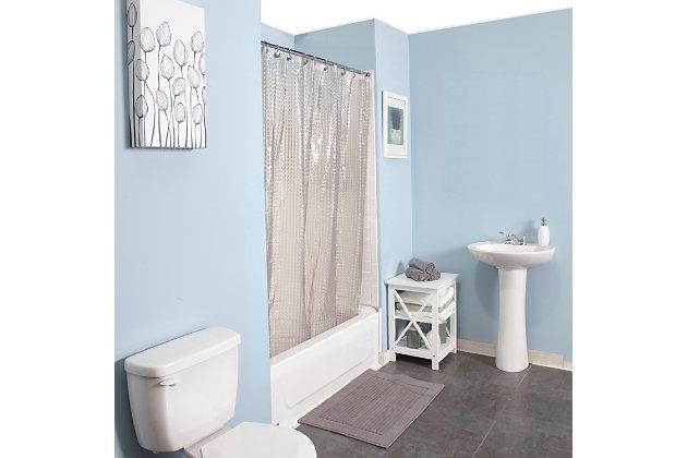 "Kenney Medium Weight Embossed PEVA Shower Curtain Liner, 70"" W x 72"" H, Smoke, large"