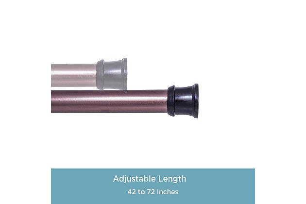 "Kenney Twist & Fit™ No Tools Rust-Proof Aluminum Shower Rod, 42-72"", Bronze, large"