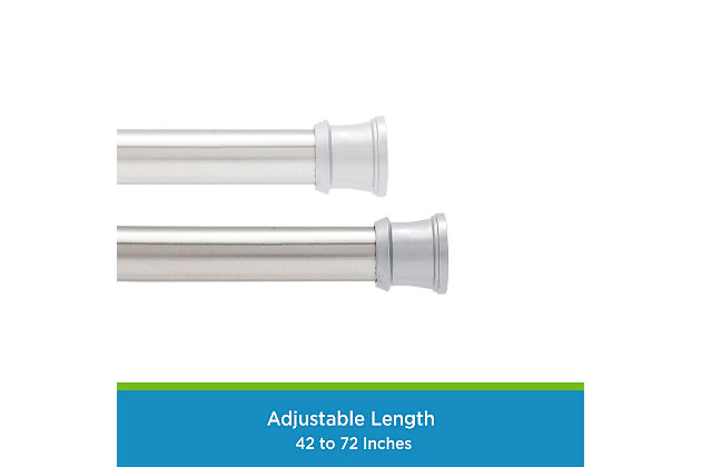 """Kenney Twist & Fit™ No Tools Tension Shower Curtain Rod, 42-72"""", Chrome, large"""