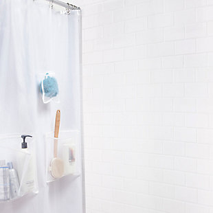 """Kenney Medium Weight PEVA Shower Curtain Liner with Pockets, 70"""" W x 72"""" H, , large"""