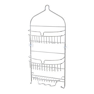 Kenney Rust-Resistant Heavy Duty 3-Tier Large Hanging Shower Caddy with Suction Cups and Four Razor Holders, , rollover