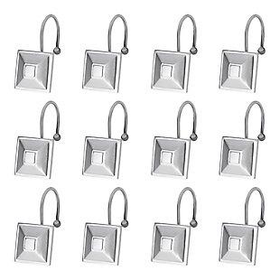 Kenney Ella Rust-Proof Aluminum Double Decorative Shower Curtain Hooks, Set of 12, , large