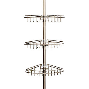 Kenney 3-Tier Stainless Steel Spring Tension Shower Corner Pole Caddy with Four Clip-on Hooks and Razor Holders, , rollover