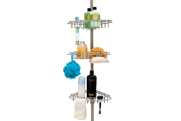 Kenney 3-Tier Stainless Steel Spring Tension Shower Corner Pole Caddy with Four Clip-on Hooks and Razor Holders, , large