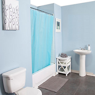 "Kenney Medium Weight PEVA Shower Curtain Liner and Beaded Roller Ring Set, 70"" W x 72"" H, Blue, large"