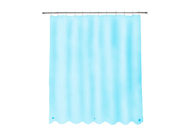 """Kenney Medium Weight PEVA Shower Curtain Liner and Beaded Roller Ring Set, 70"""" W x 72"""" H, Blue, large"""