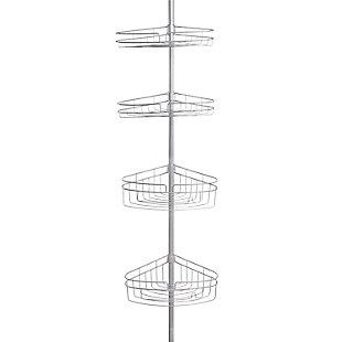 Kenney 4-Tier Spring Tension Shower Corner Pole Caddy with Razor Holder, , large