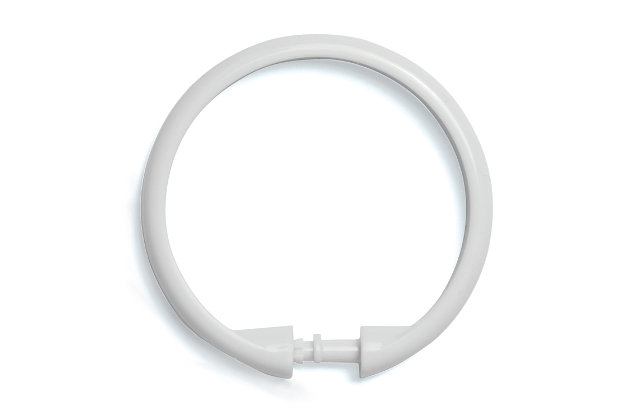 Kenney Smooth Shower Curtain Rings, Set of 12, White, large
