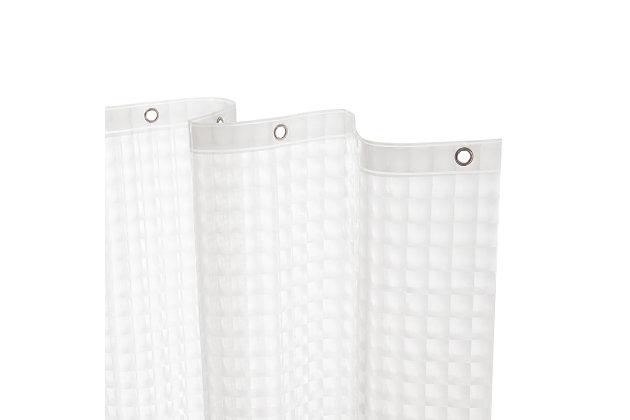 """Kenney Medium Weight Embossed PEVA Shower Curtain Liner, 70"""" W x 72"""" H, Clear, large"""