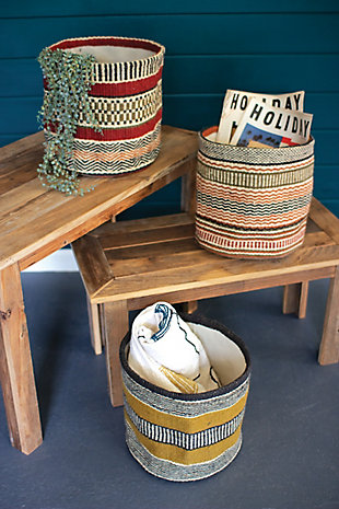 Set of 3 Multicolored Woven Jute Baskets without Handles, , rollover
