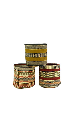 Set of 3 Multicolored Woven Jute Baskets without Handles, , large