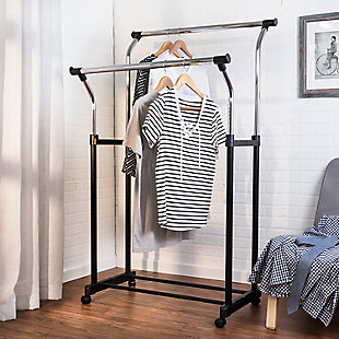Honey-Can-Do Adjustable Double Hanging Garment Rack, , rollover