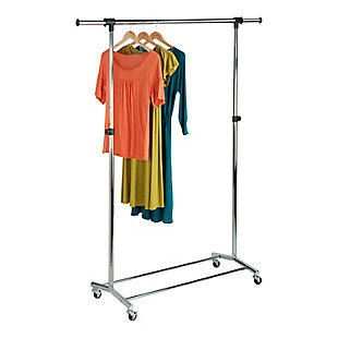 Honey-Can-Do Adjustable Rolling Garment Rack, , rollover