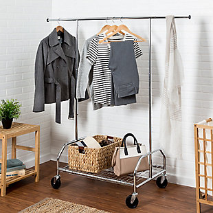 Honey-Can-Do Adjustable Rolling Garment Rack with Shelf, , rollover