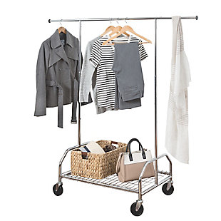Honey-Can-Do Adjustable Rolling Garment Rack with Shelf, , large