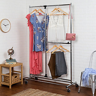Honey-Can-Do Two Tier Rolling Garment Rack, , rollover