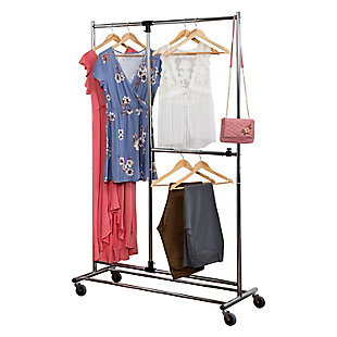 Honey-Can-Do Two Tier Rolling Garment Rack, , large