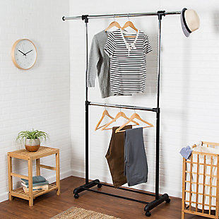 Honey-Can-Do Adjustable Rolling Double Garment Rack, , rollover