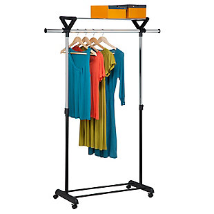 Honey-Can-Do Rolling Garment Rack with Top Shelf, , rollover
